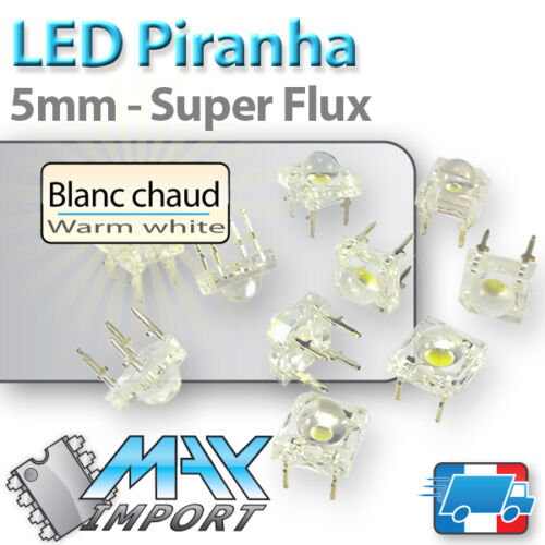 5mm LED  Piranha SuperFlux blanc chaud warm white