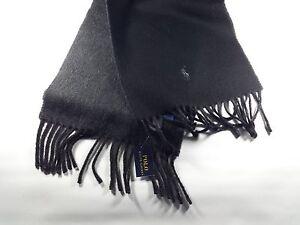New Genuine Polo Ralph Lauren Men s Reversible Wool Scarf Black Grey ... e54cdd7105145