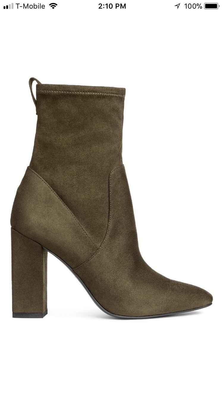 H&M Suede Olive Green Booties