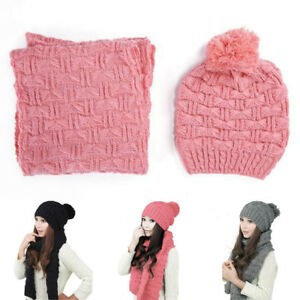 Women-Girls-Fall-Winter-Hat-Warm-Scarf-Woolen-Knit-Hood-Scarf-Shawl-Caps-Hats