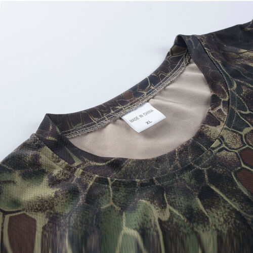 Mens Tactical T-Shirt Short Sleeve Army Camouflage Quick dry Casual Shirt Hiking