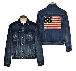c9fe1ef59 Details about Polo Ralph Lauren Men's Denim Trucker Jacket USA Flag Patch  Dark Blue NWT