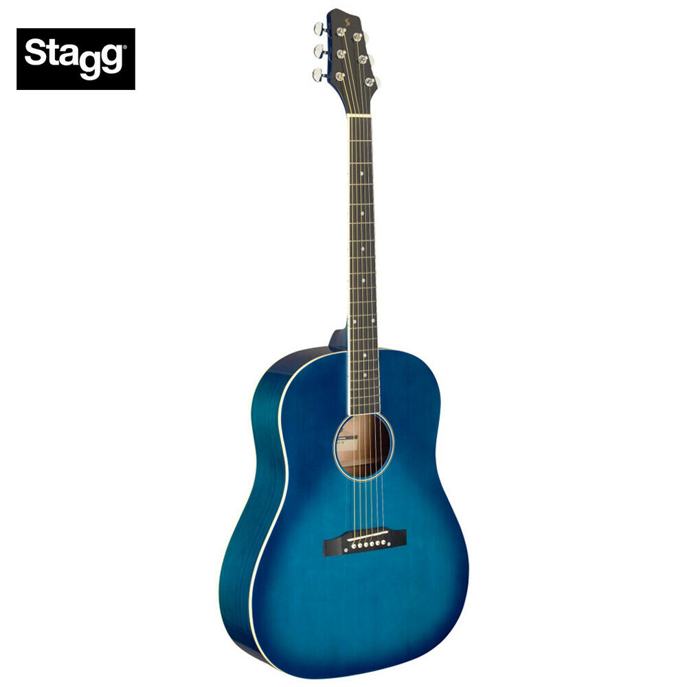 Stagg SA35 DS-TB Sloped Shoulder Dreadnought Acoustic Guitar - Transparent Blau