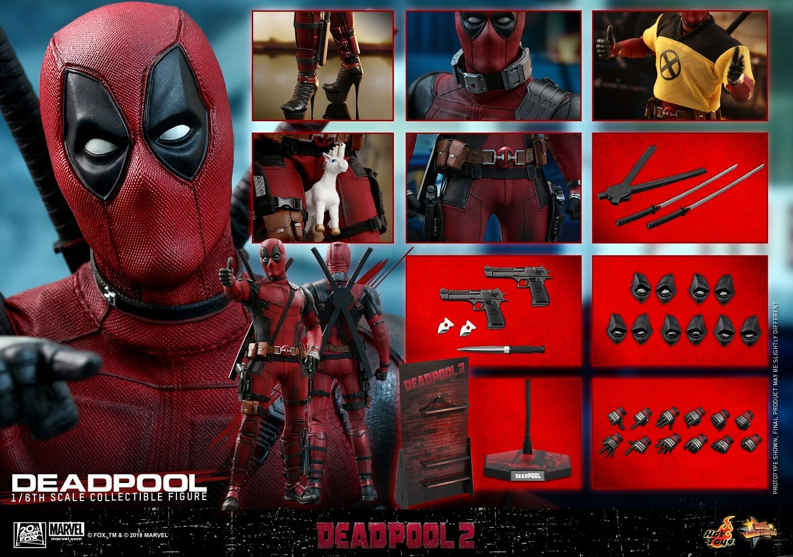 Hot Toys MMS490 Deadpool 2 16th escala Deadpool Figura De Colección En Stock