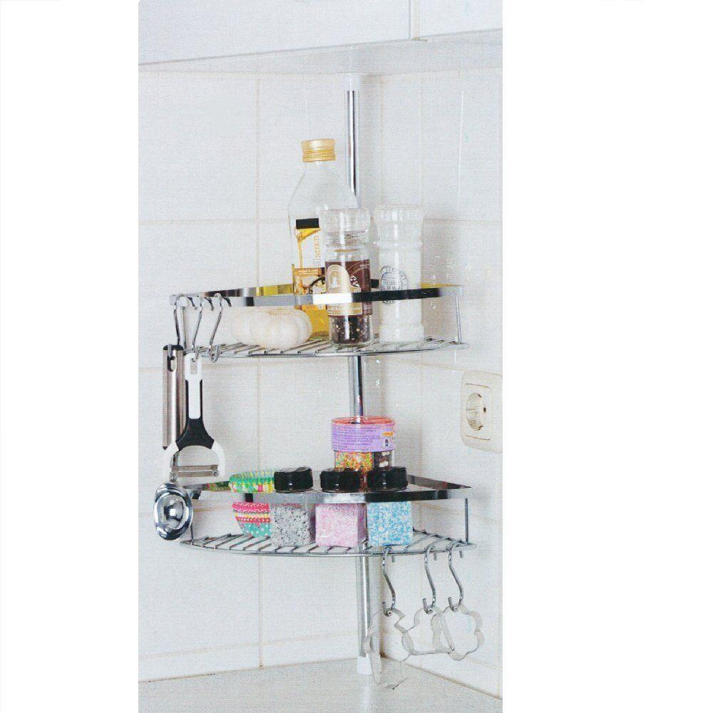 Stainless Steel Storage Rack Kitchen Shelf with Hooks Herbs Tins Jar ...