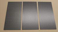 X3 Lego Gray Baseplates Base Plates Brick Building 16 X 32 Dots Bluish Gray