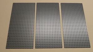 x3-NEW-Lego-Gray-Baseplates-Base-Plates-Brick-Building-16-x-32-Dots-BLUISH-GRAY