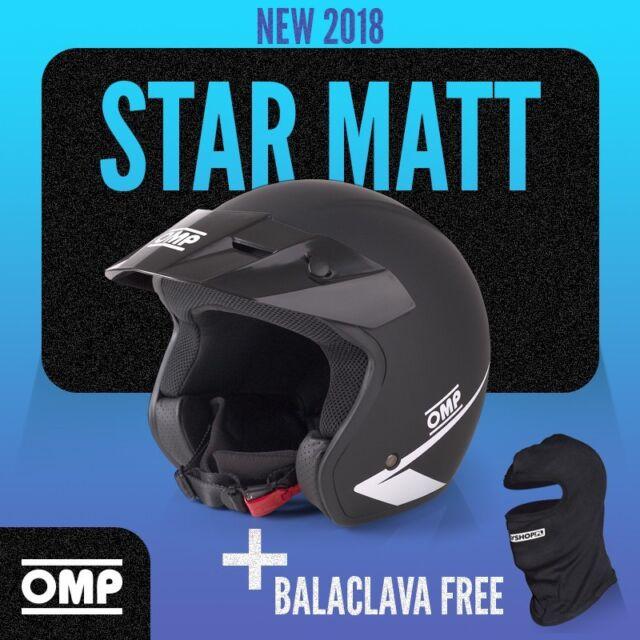 NEW 2018 Open Helmet OMP STAR BLACK Mat size XL 60cm Rally Race Trackdays ECE