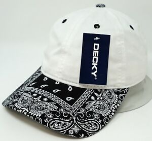 0fba9a1000a17 Image is loading White-w-Black-Paisley-Visor-Unconstructed-Cap-DECKY-
