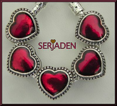 5 Red Lover Heart Charms Fits European Jewelry 11 x 11 mm  & 5 mm hole S188