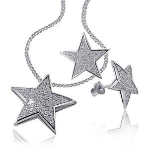 Goldmaid Set Kette + Ohrringe 925 Sterlingsilber Sterne mit Zirkonia Echtschmuck