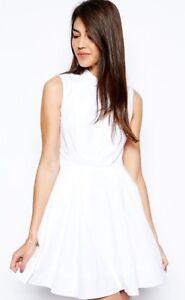 14136d9645f184 New Karen Millen white shirt cotton cut-out skater summer dress UK ...