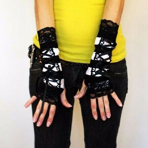 striped corset gloves black lace up cuffs arm sleeves