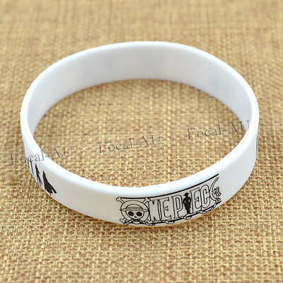 Japanese Anime One Piece Silicon Wristband White Rubber Bangle Fan Gift 1pc