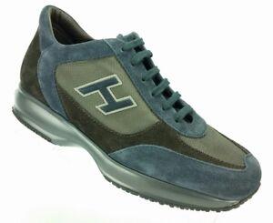 06ca5a5a434 Image is loading HOGAN-Interactive-Suede-Sneaker-Black-Blue-Graphite-Men-