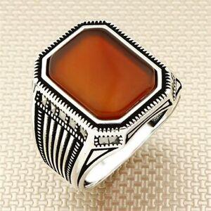 Nuevo diseño hecho a mano plata esterlina 925 Ámbar Piedra Anillo de mujer de moda para hombre