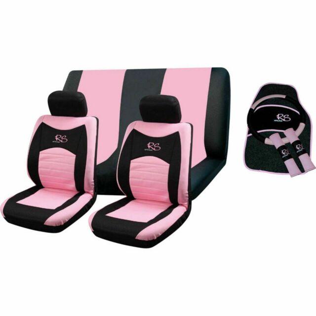 15pc GREY RS Racing Car Seat Cover Steering Wheel Floor Mats Seat Belt Pads Set