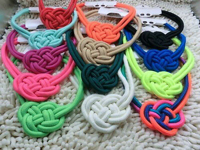 new beautiful handmade cotton rope woven Chinese knot Fluorescent color necklace