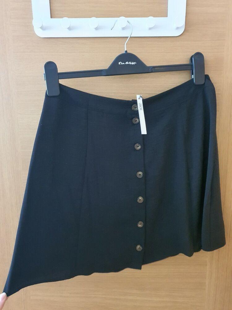 Asos Design Bouton Sur Le Devant Noir Mini Jupe (taille 12) Neuf Avec étiquettes