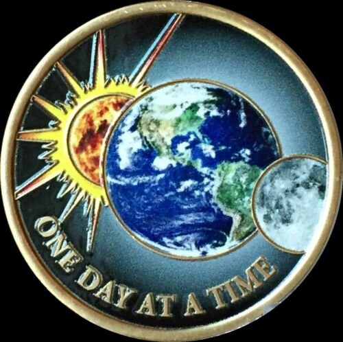 Universe Color One Day At A Time Medallion Sun Moon Earth Serenity Prayer Chip