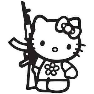 hello kitty ak47 weapon gun car truck vinyl window decal decals Hello Kitty as a Nerd image is loading hello kitty ak47 weapon gun car truck vinyl