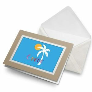 Greetings-Card-Biege-Crete-Blue-Sun-Coconut-Tree-Greek-9178