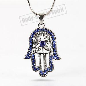 Blue hamsa necklace hand of god evil eye charm pendant jewish image is loading blue hamsa necklace hand of god evil eye aloadofball Image collections