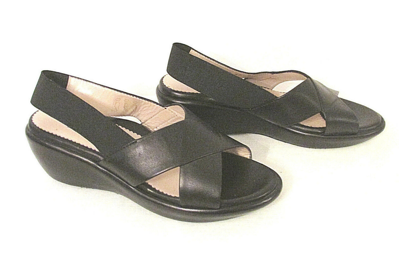 Taryn pink Made in  Women's Wedge Sandal 37 shoes Black Leather Criss Cross
