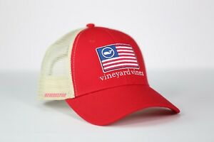 c18623a3c0762 Vineyard Vines AMERICAN FLAG WHALE LINE TRUCKER HAT CAP For Unisex ...