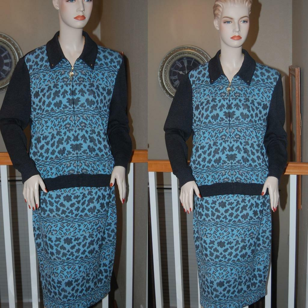 BREATHTAKING STUNNING ST. JOHN KNIT ANIMAL PRINT  COLLECTION SKIRT SUIT SZ 14