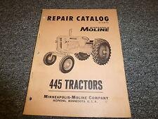 Minneapolis Moline 445 Farm Utility Tractor Parts Catalog Manual Book R1157c