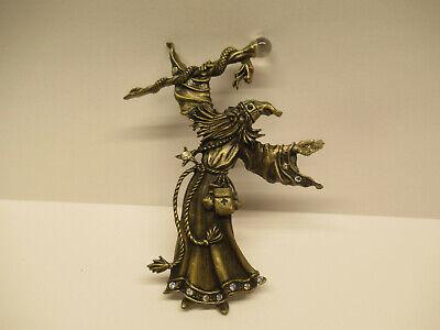 retro JJ Jonette Jewelry sorcerer pin 80s WIZARD brooch SIGNED celestial statement brooch magical Rare pewter brooch