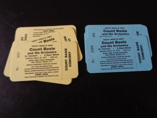 COUNT BASIE ORIGINAL CONCERT TICKETS AUBURN NY MARCH 25TH 1972 UNUSED CONDITION