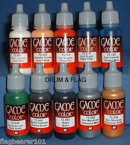 VALLEJO-GAME-COLOR-PAINT-NAPOLEONIC-10-BOTTLE-SET-WATER-BASED-ACRYLIC-17ml