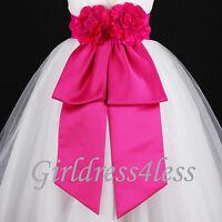 Fuchsia Sash Wedding Flower Girl Dress Bow S M L 12M 18M 24M 2 3/4 5/6 8 10 12