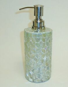 New Light Green Clear Oval Pattern Glass Mosaic Soap Lotion Dispenser Ebay