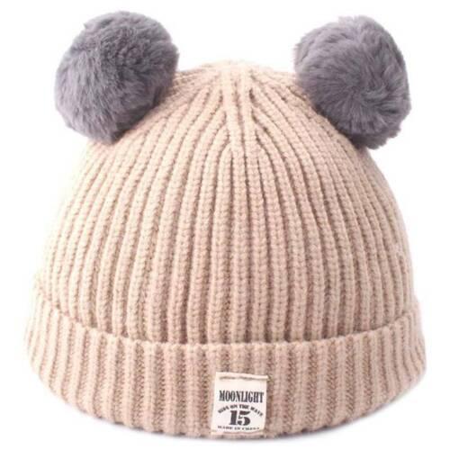 Toddler Beanie Kids Boy Girl Knit Hat Scarf Trapper Pom Pom Neck Winter Warm Cap