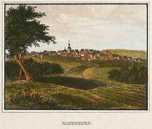 RONNEBURG-THURINGEN-GESAMTANSICHT-kolorierter-Stahlstich-1840