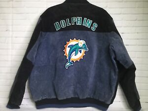 Miami Dolphins Suede Leather Jacket G-III Carl Banks Black Gray Mens ... 5bf1f6728