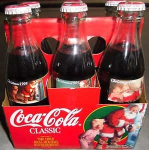 Coca Cola Christmas Bottle.Details About Santa Claus Christmas 1995 Holiday Scene Collector Bottles Coca Cola Coke 6 Pack