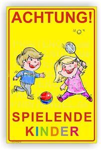 Schild-Achtung-Spielende-Kinder-Warnschild-Alu-Verbund-3mm-30X45cm-Art-Kind-2