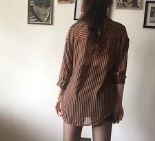 Forever 21 Striped Chiffon Sheer  Asymmetric Blouse Top