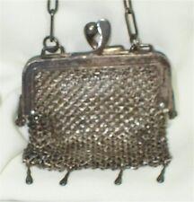 """Antique German Silver  Mesh, Chain Mail 2 1/2 """" PURSE H H C MINI BAG"""