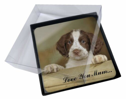 4x Springer Spaniel Pup 'Love You Mum' Picture Table Coasters Set i, ADSS76lymC