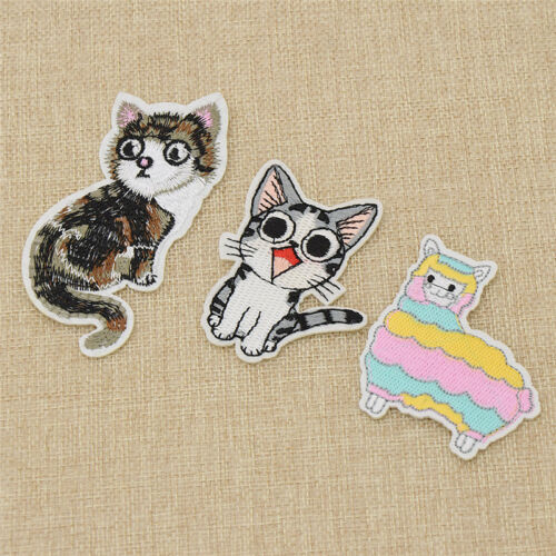 Cartoon Cat Alpaca Embroidery Patch Applique Iron-On Sewing Decoration Accessory