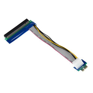 PCI-E-Express-1x-To-16x-Riser-Card-Ribbon-Extender-Extension-Cable-Molex-Power
