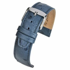 16mm-20mm-Blue-High-Grade-Ostrich-Grain-Watch-Straps-with-Nubuck-lining