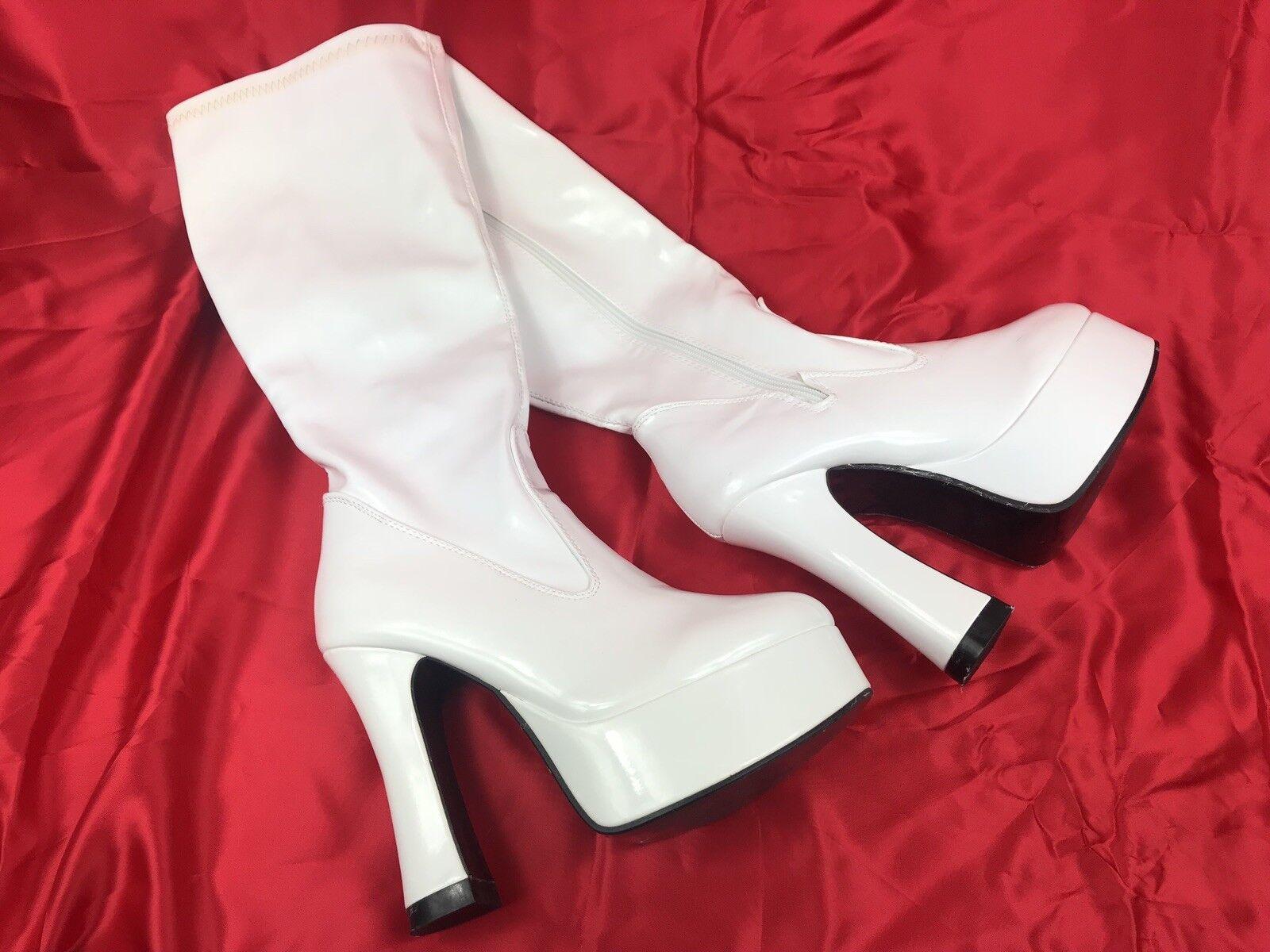 Womens Latex Knee High White Boots Strip EUR 38 UK 6