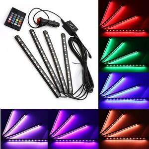 4x 12led car suv interior atmosphere rgb strip light music control footwell lamp. Black Bedroom Furniture Sets. Home Design Ideas