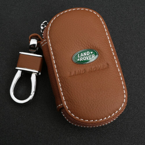 Brown Cowhide leather Car Key Holder Keychain Ring Case Bag Fit For Land Rover